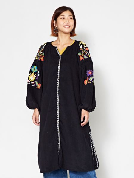 Floral Embroidery Corduroy Long Cardigan-Ametsuchi