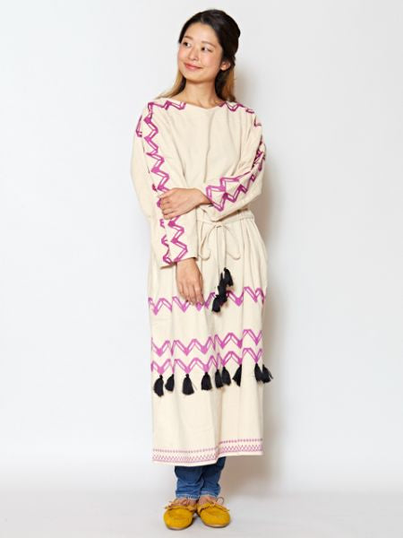Embroidered Bohemian Midi Dress -Dresses-Ametsuchi