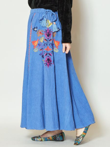 Floral Embroidery Corduroy Long Skirt-Skirts-Ametsuchi