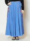 Floral Embroidery Corduroy Long Skirt-Ametsuchi