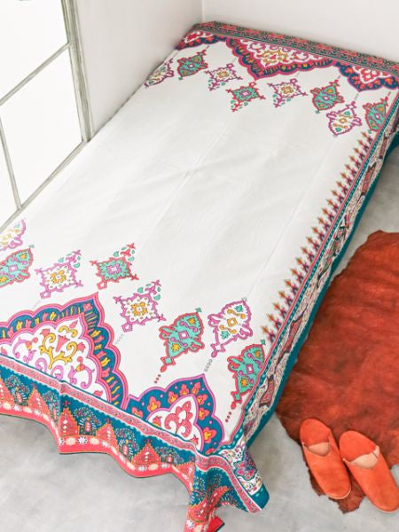 Arabesque Bed Cover Multi Cloth-Bed Linens-Ametsuchi