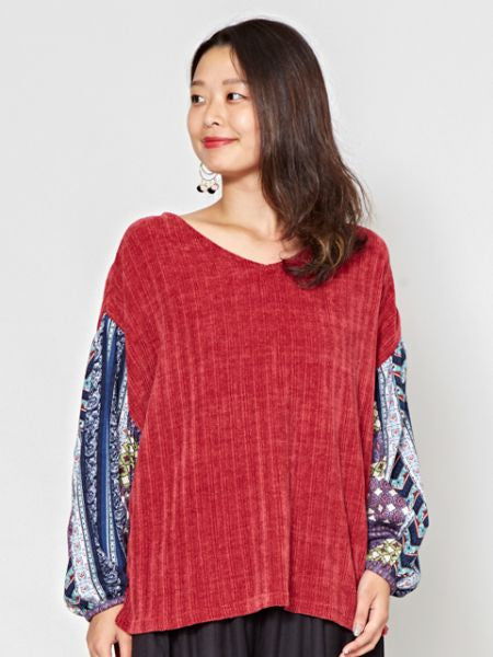Mole Knit Top with Volume Sleeve