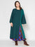Patchwork Knit Kaftan Dress with Side Slit