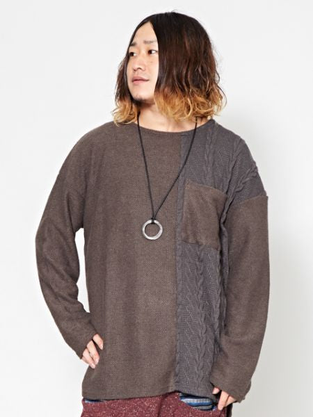 Patchwork Knit Pullover-Ametsuchi