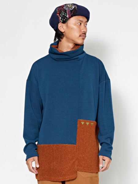 Bi Color Highneck Men's Top-Tops-Ametsuchi
