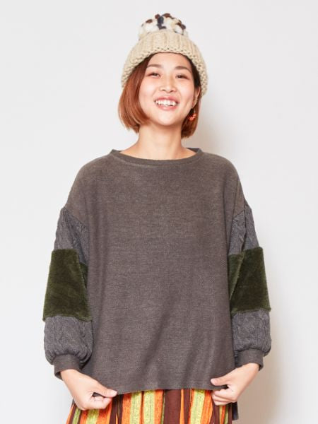 Boa Patchwork Knit Pullover