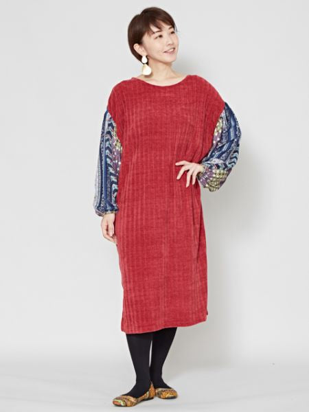 Mole Knit Volume Sleeve Dress -Dresses-Ametsuchi