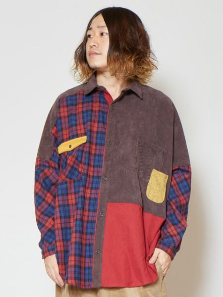 Plaid Patchworked Men's Oversized Shirt-Ametsuchi