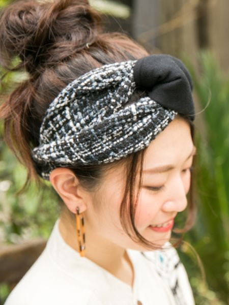 Tweed x Sweat Bi Color Hair Band-Ametsuchi