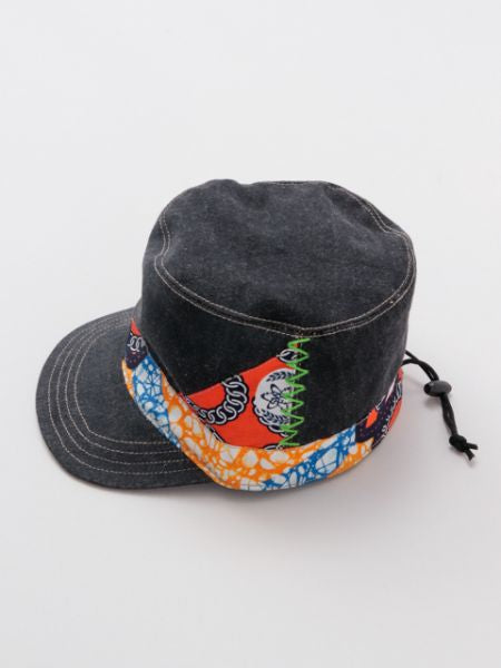 Kanga x Denim Military Cap-Caps & Hats-Ametsuchi