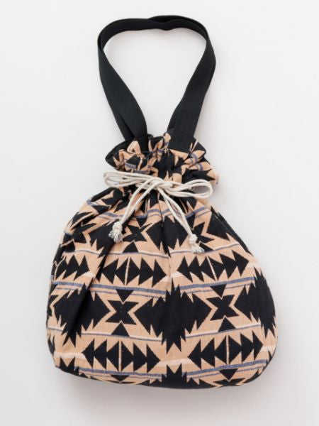 Geometric Pattern Drawstring Tote Bag-Bags & Purses-Ametsuchi