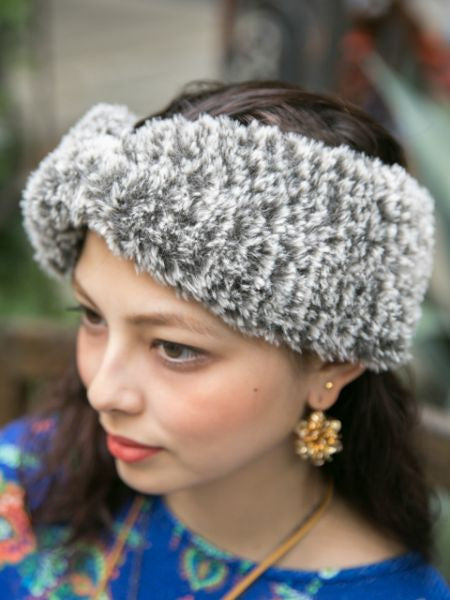 Faux Fur Twisted Hair Band-Ametsuchi