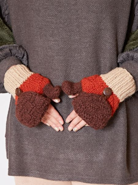 Nepal Hand Knitted Mittens-Gloves-Ametsuchi
