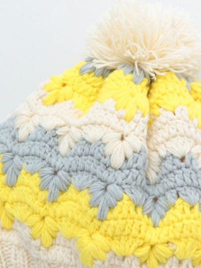 Hand Knitted Beanie with Pompom-Ametsuchi