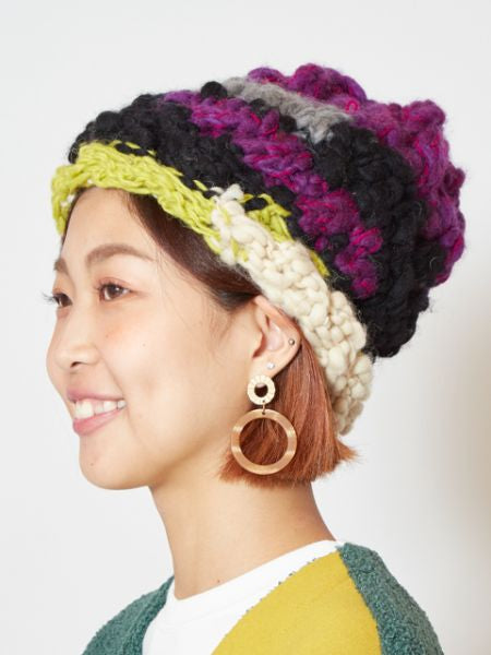 Mixed Yarn Knitted Beanie-Caps & Hats-Ametsuchi