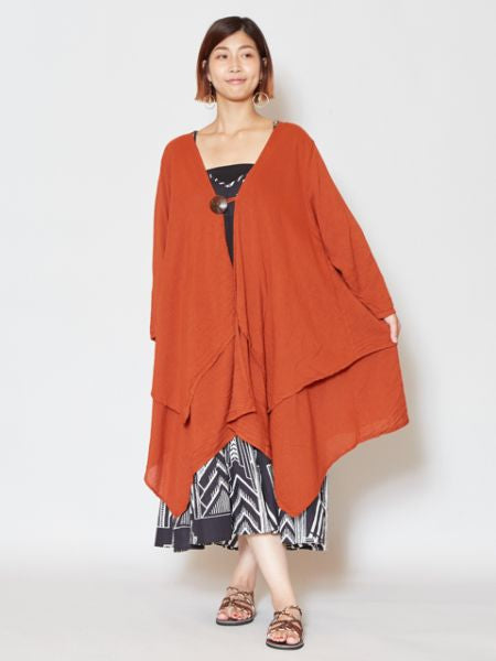 Layered Cotton Cardigan-Ametsuchi