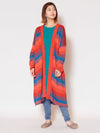 Multi Striped Knit Long Cardigan-Ametsuchi