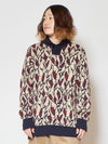 Leaf Pattern Turtleneck Knit Top-Tops-Ametsuchi