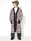 Leaf Pattern Turtleneck Knit Long Cardigan-Cardigans & Outerwear-Ametsuchi