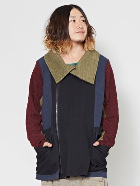 Patckworked Men's Jacket-Cardigans & Outerwear-Ametsuchi