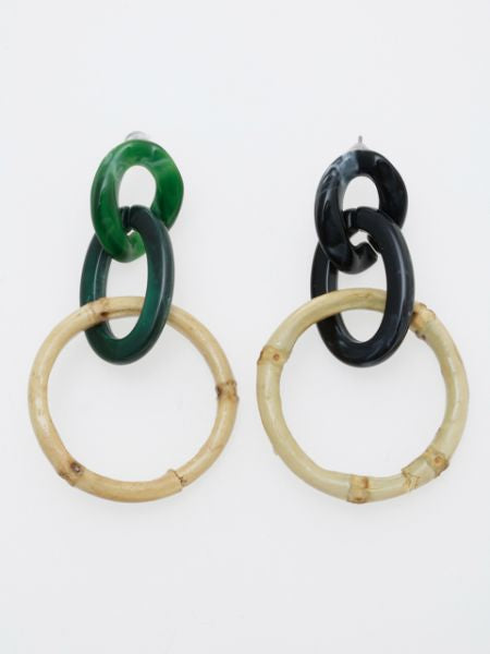 Chain & Bamboo Earrings