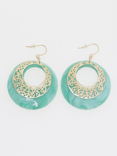 Marble Circle Earrings