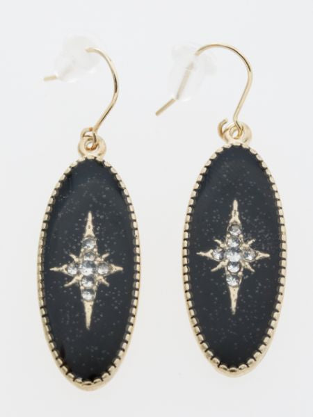 Oval Star Earrings
