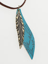 Metal Feather Necklace -Necklaces-Ametsuchi