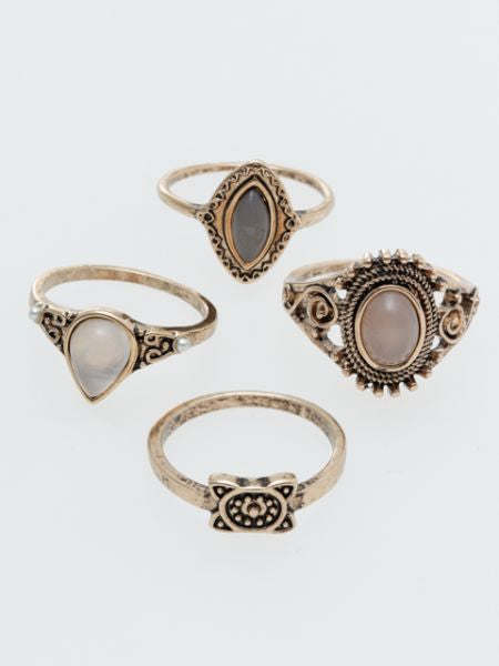 Boho Chic Metal Ring Set