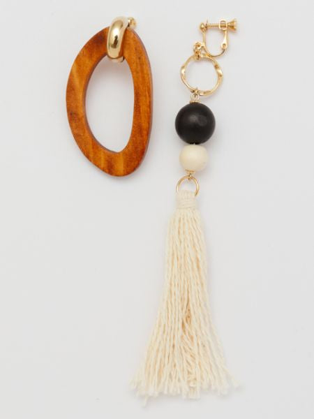 Wood x Tassel Earrings