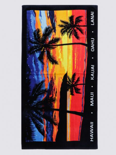 Hawaiian Beach Bath Towel -Towels-Ametsuchi