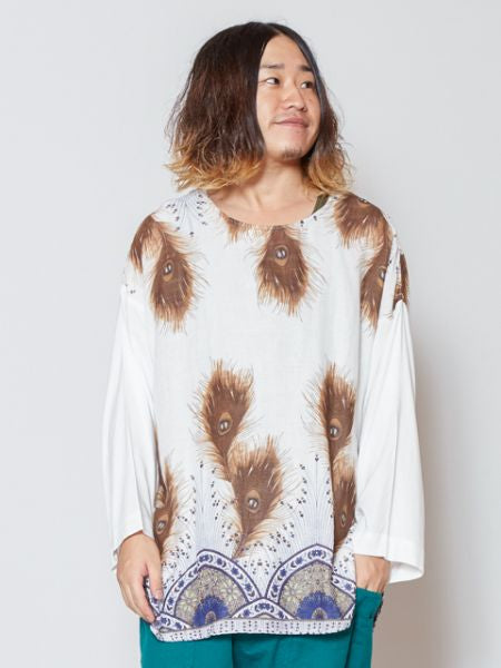 Peacock Pattern Print Top-Tops-Ametsuchi