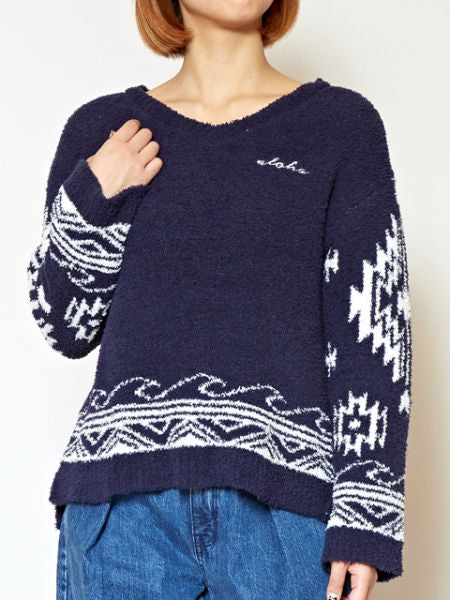 Navajo Wave Knit Pullover-Tops-Ametsuchi