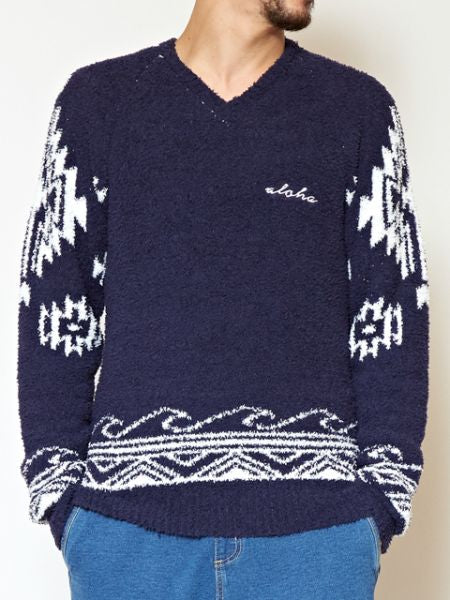 Navajo Wave Knit V Neck Pullover