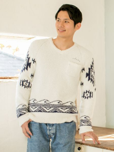 Navajo Wave Knit V Neck Pullover-Tops-Ametsuchi