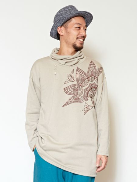 Lotus Pattern Sweat Top-Tops-Ametsuchi