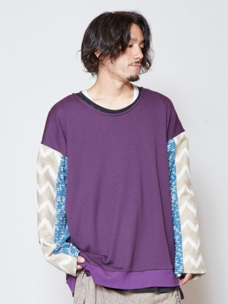 Patchwork Sweat Men's Top-Tops-Ametsuchi