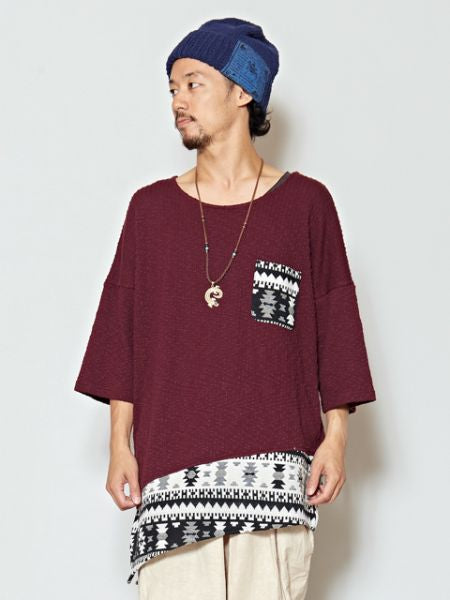 Asymmetrical Patchwork Men's Top-Tops-Ametsuchi