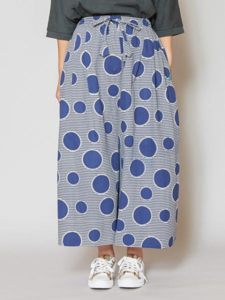Dot & Stripe Wide Leg Pants-Pants & Shorts-Ametsuchi
