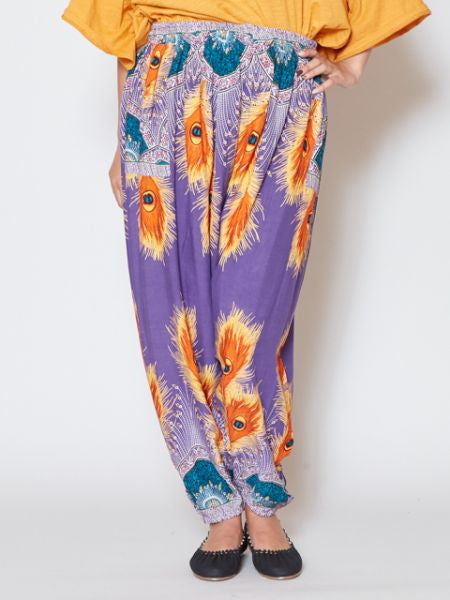 Peacock Pattern Print Harem Pants