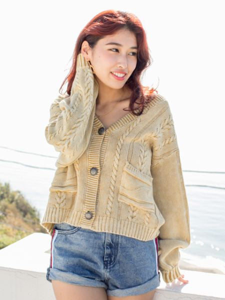 Cotton Knitted Short Cardigan