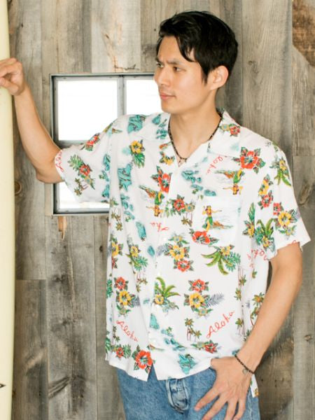 Mixed Hawaiian Motif Men's ALOHA Shirt
