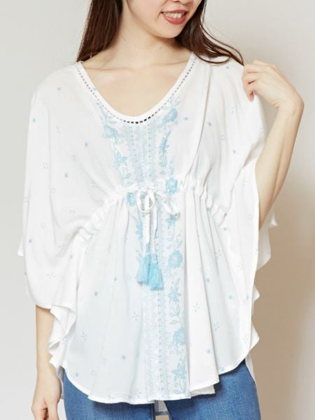 Floral Print Butterfly Sleeve Blouse-Ametsuchi