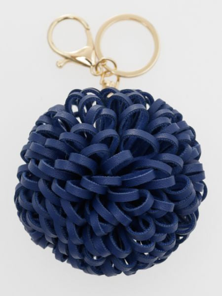 Round Chrysanthemum Motif Bag Charm | Key Holder