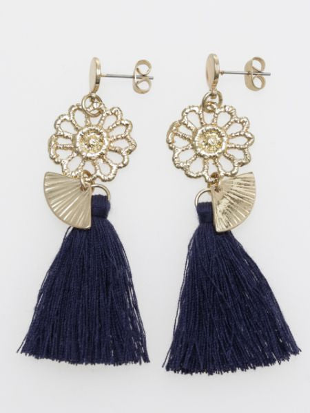 Metal Flower x Tassel Earrings-Ametsuchi