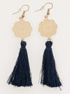 Openwork Flower x Tassel Earrings-Ametsuchi