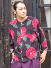 Peony Flower Men's Collarless Shirt-Ametsuchi
