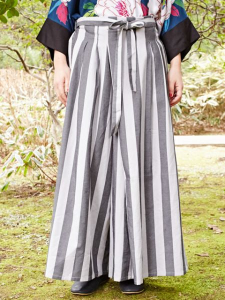 HAKAMA Style Stripe Wide Leg Pants