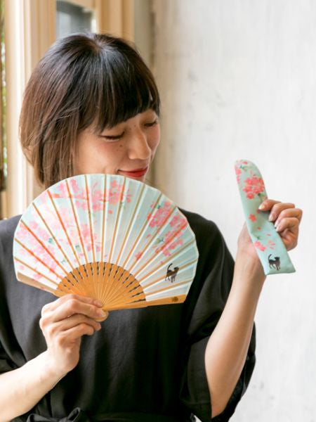 SAKURA & Cat SENSU Foldable Fan with Pouch-Ametsuchi