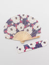 Stripe Camellia Foldable Fan with Pouch-Ametsuchi